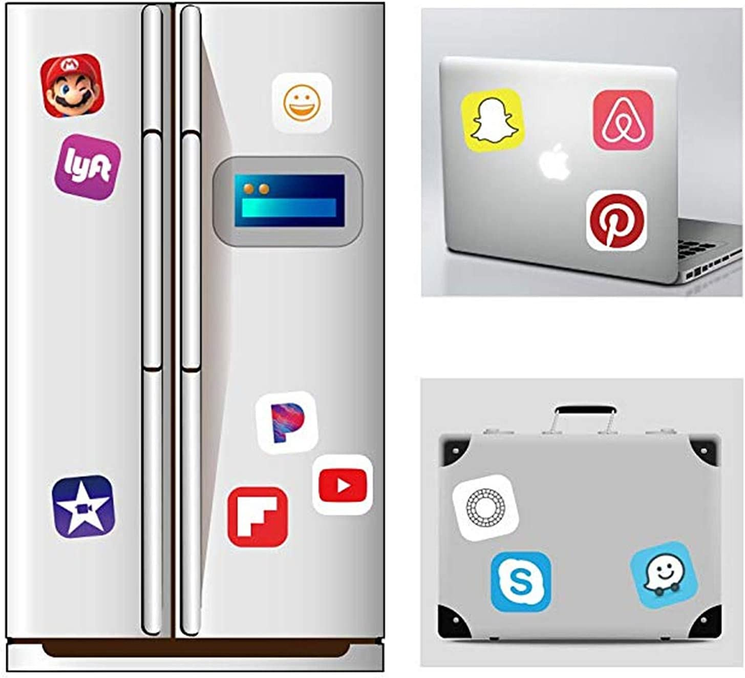 Social Media Stickers for Laptop and Anywhere 50 App Stickers UV Protected /& Waterproof Vinyl Decals