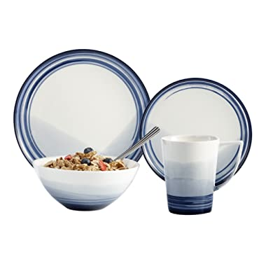 Brilliant - Signature 16 Piece White with Blue Trimming Porcelain Dinnerware Set, Service for 4
