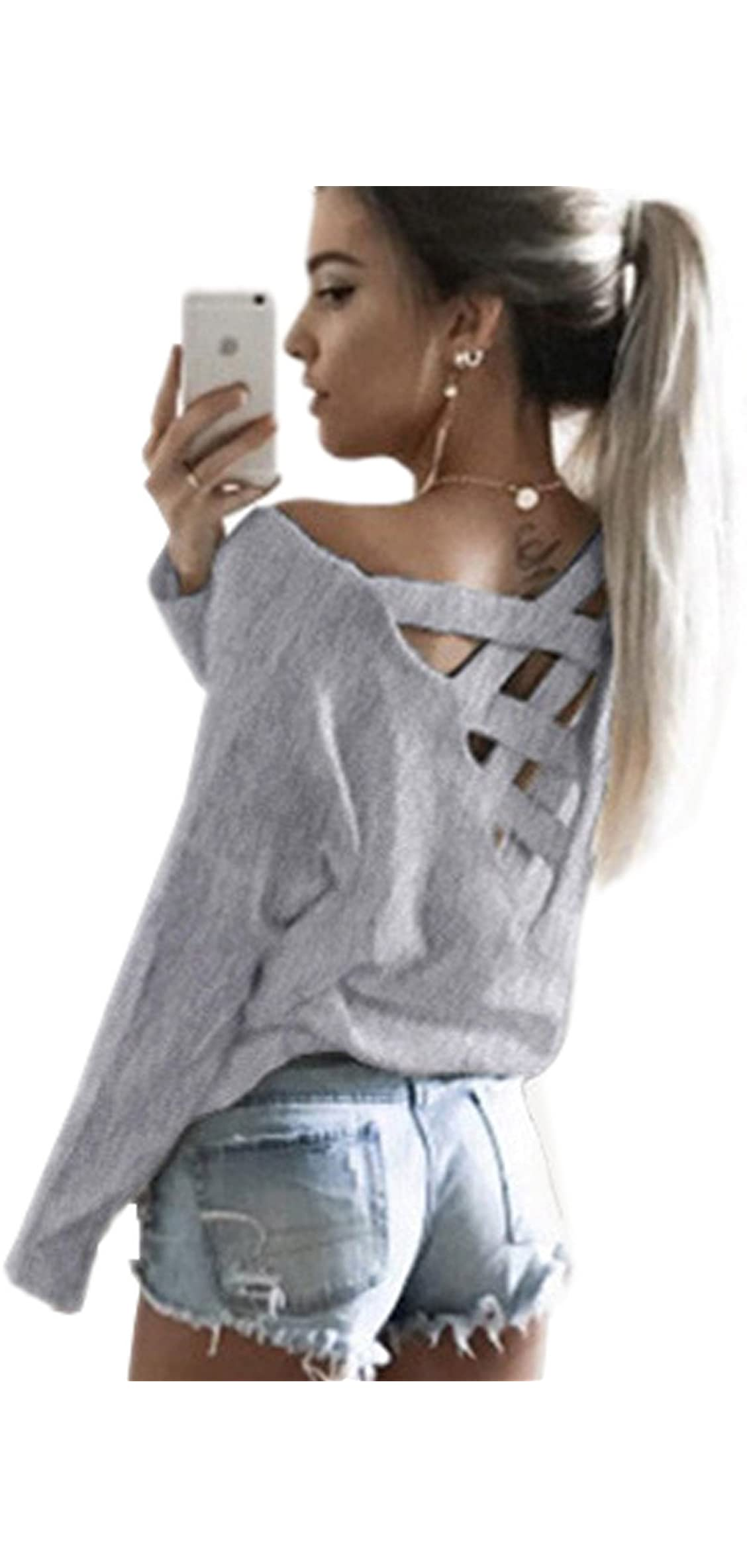 Womens Criss Cross V Neck Top Cut Out Loose Pullover