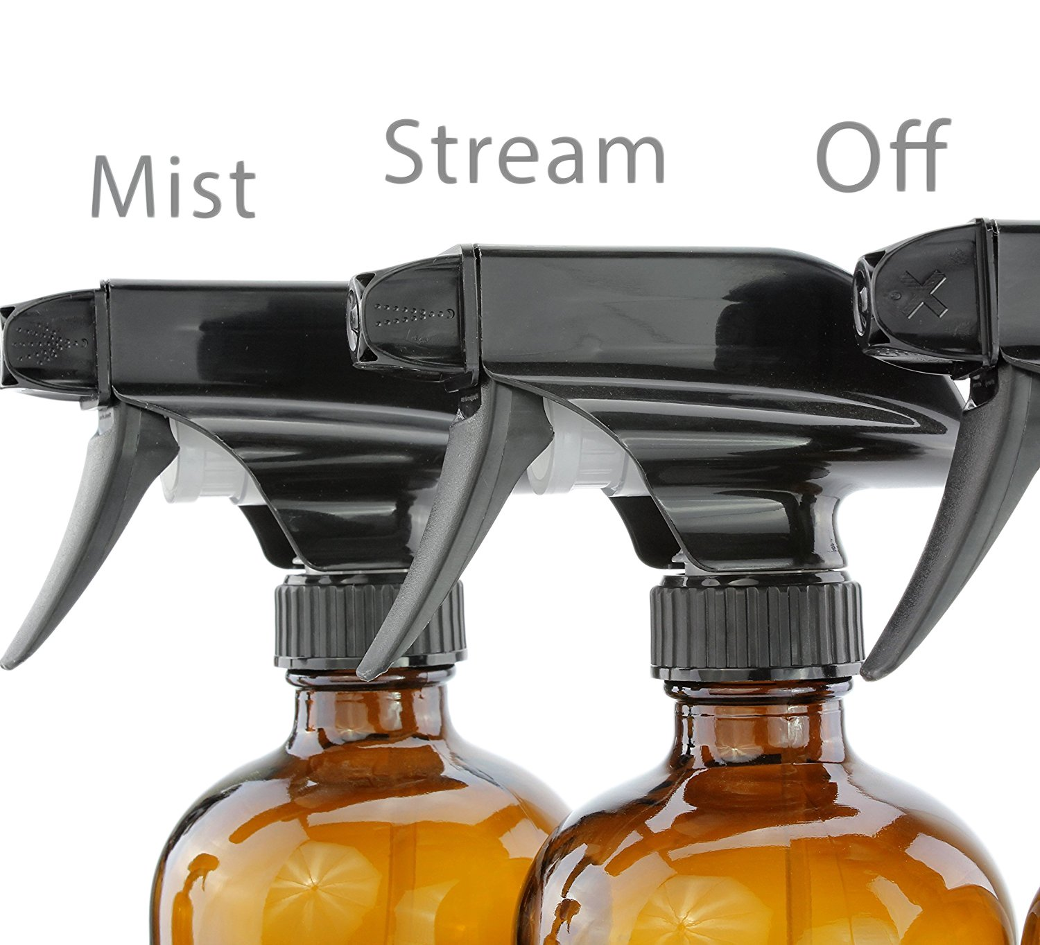 16-Ounce Amber Glass Spray Bottles w/Reusable Chalk Labels (2 Pack), Heavy Duty Mist & Stream 3-Setting Sprayer; Great for Essential Oils by Cornucopia Brands (Image #3)