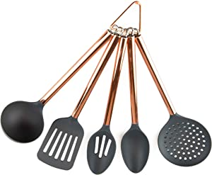 COOK With COLOR 5 Piece Grey Nylon Cooking Utensil Set on a Ring with Rose Gold Copper Handles - Rounded Handles