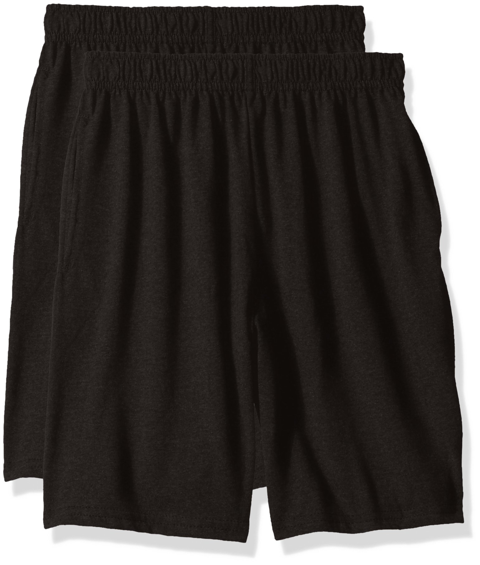 Hanes Big Boys' Jersey Short (Pack of 2), Black, L