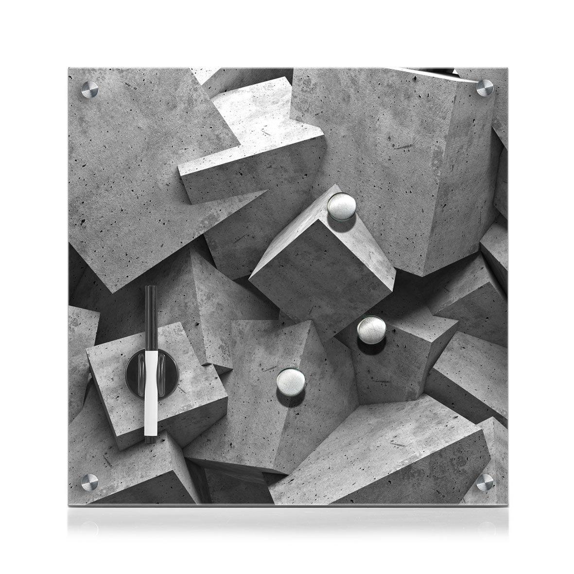 Zeller Present 11654Memo Board Inch Cubes, Glass, Grey, 40x 40 cm