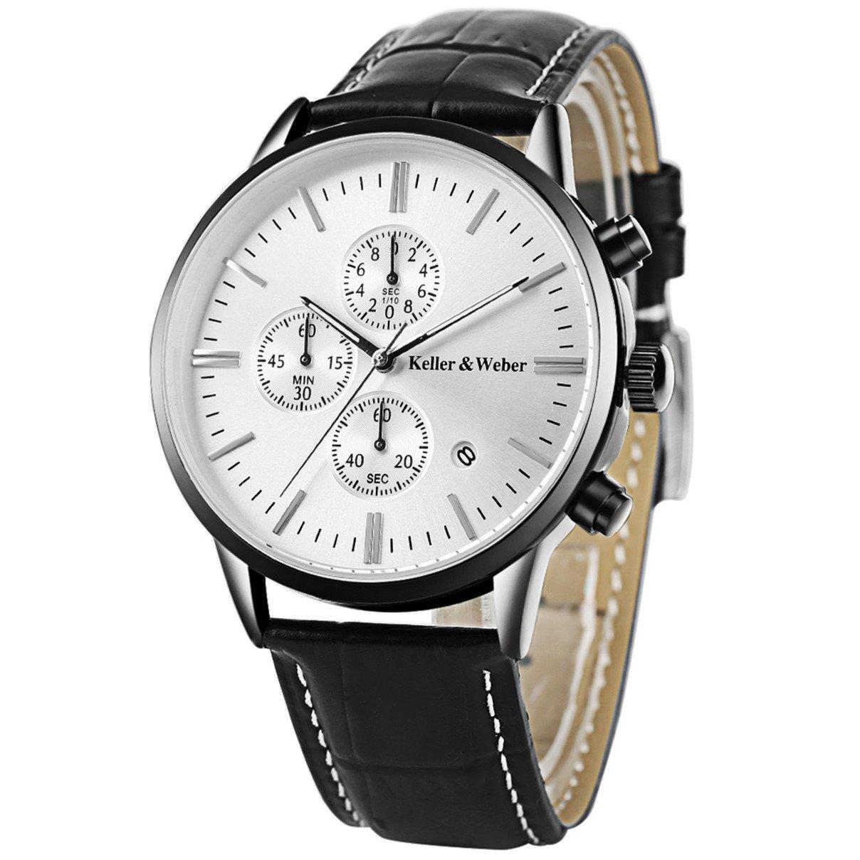 Mens Watches Leather Strap Quartz Analog Chronograph Calendar Date Waterproof Wristwatch by Keller&Weber