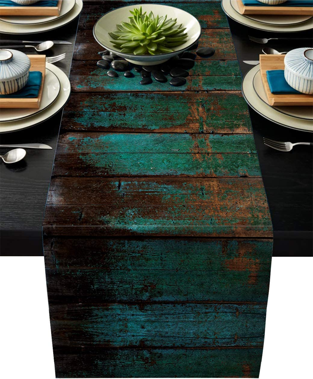 Vandarllin Cotton Linen Table Runner Dresser Scarves Country Rustic Distressed Barn Wood Non-Slip Burlap Rectangle Table Setting Decor for Wedding Party Holiday Dinner Home, 18x72 inch Teal Green