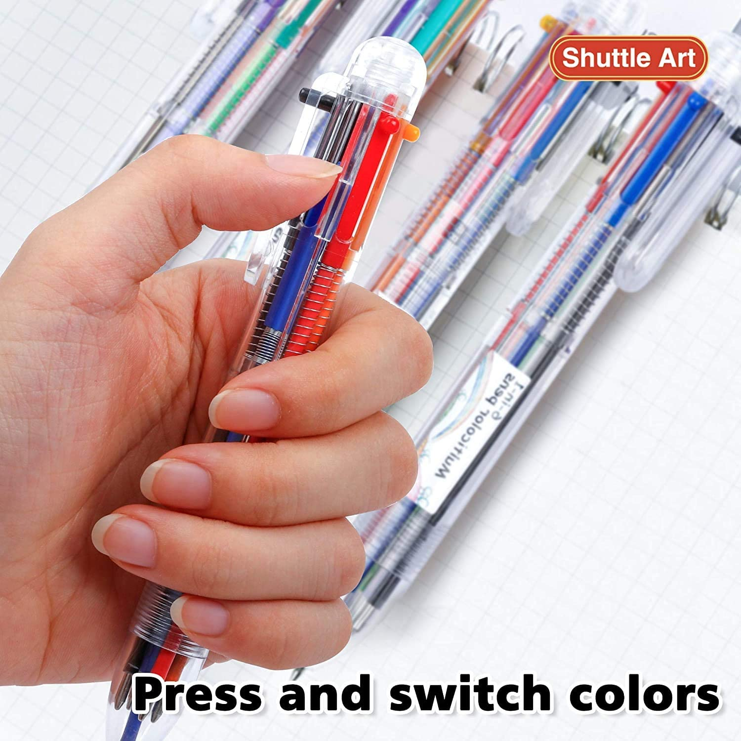 23 Pack 6-in-1 0.7mm Retractable Ballpoint Pens for Office School Supplies Students Children Gift