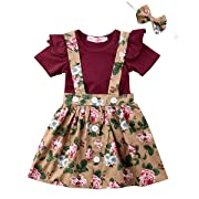 LOliSWan 2Pcs Infant Toddler Baby Girls Summer Boho Floral Rompers Jumpsuit Strap Skirt Overall Dress Outfits Set (Wine red, 3-6 Months)