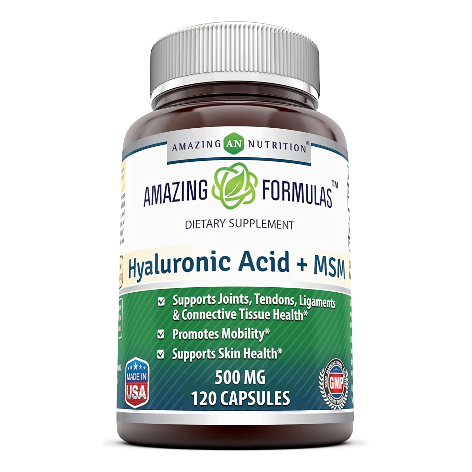 Amazing Nutrition Hyaluronic Acid & MSM Dietary Supplement - 500 Milligrams - 120 Veggie Capsules - Provides Joint, Tendon & Ligament Support - Promotes Flexibility – Skin Health Supplements B01HQC9Q1S