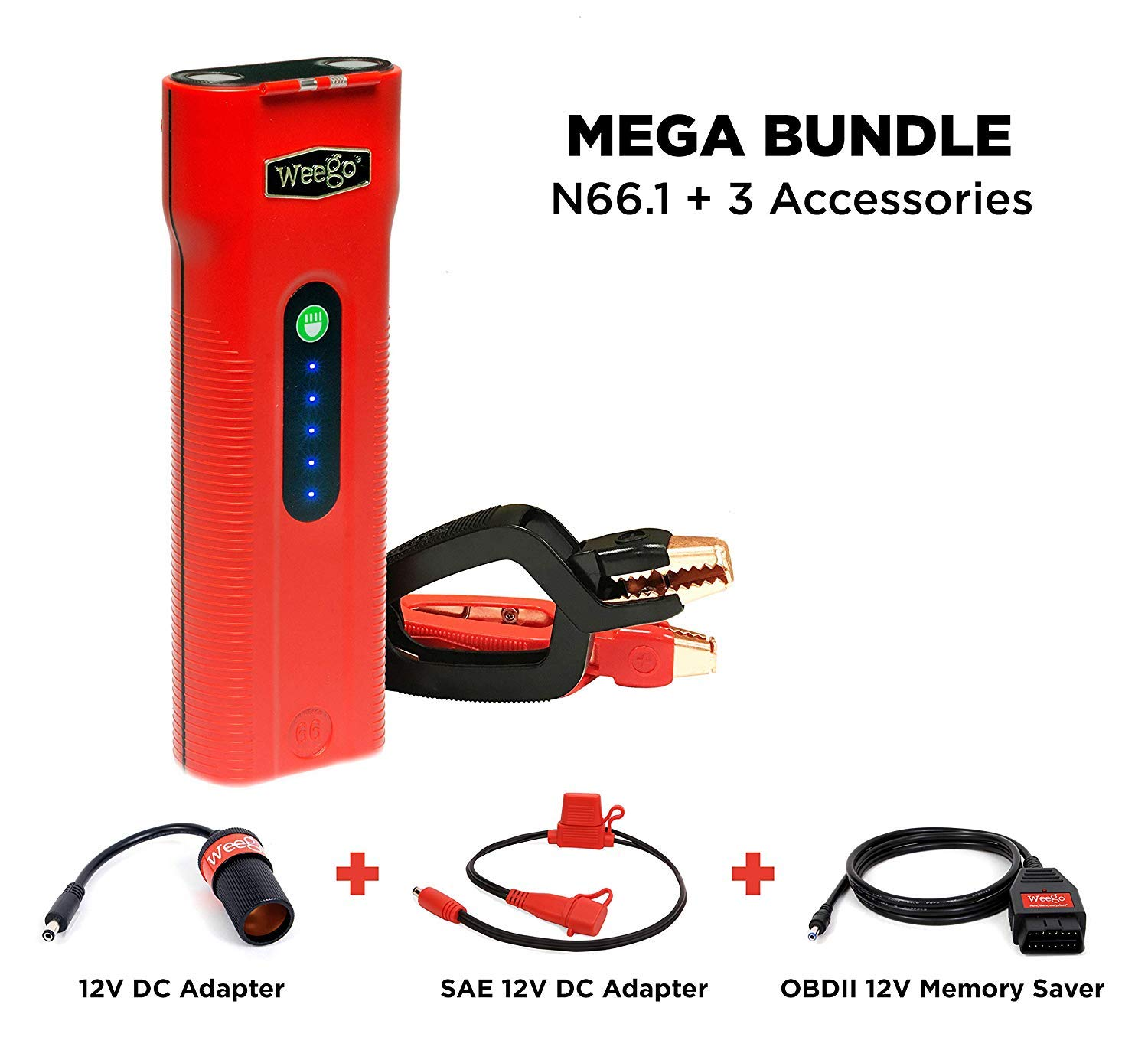 Weego 66.1 Jump Starting Power Pack MEGA BUNDLE includes Weego 66.1 High Performance Lithium Ion Jump Starter (New 2019 Model) plus Weego 12V DC Adapter, Weego SAE Adapter and Weego OBDII Memory Saver by Weego (Image #1)