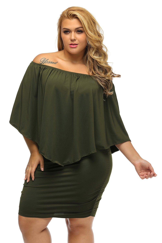 Sidefeel Women Off Shoulder Ruffles Party Mini Dress Medium Green by Sidefeel (Image #3)