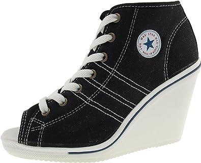 66f2d31b8511 Maxstar 777 Side Zipper Canvas Toe Open Wedge Heels Shoes Black 5.5 B(M)
