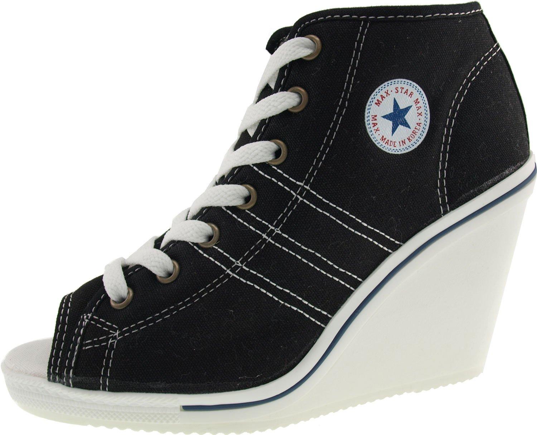 Maxstar 777 Side Zipper Canvas Toe Open Wedge Heels Shoes