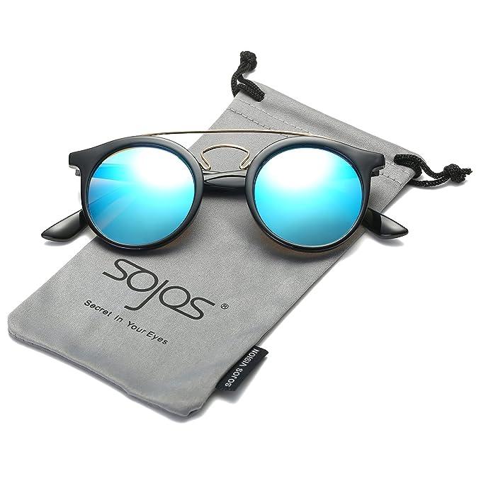 SojoS Klassische Doppelte Metallbrücken Runde Sonnenbrille für Herren Damen SJ2024 mit Schwarz Rahmen/Blau Linse BLNe2EJx
