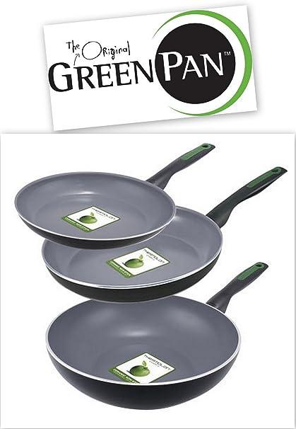 THE ORIGINAL GREENPAN - Lote de 3 piezas - 2 SARTENES diámetro 28 y 24 cm