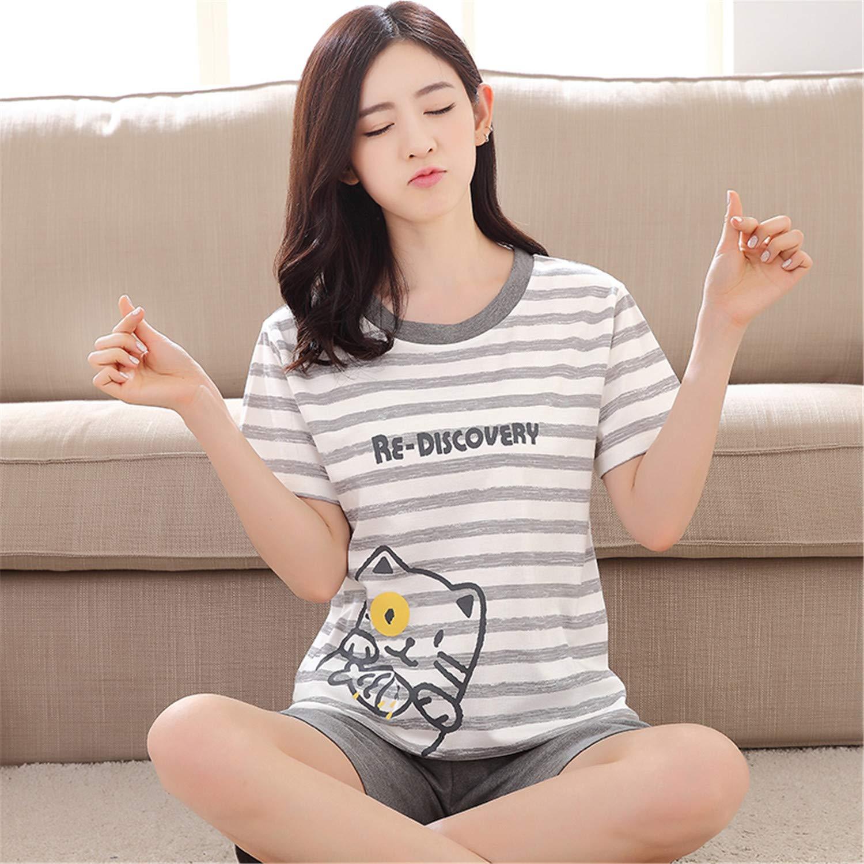Qusanyua Women 100% Cotton Cartoon Totoro Female Casual T-Shirt & Shorts Pajama