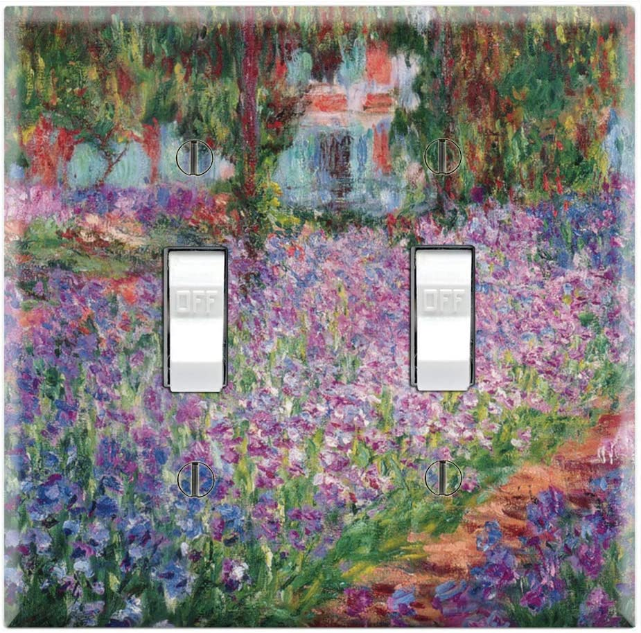 Graphics Wallplates - Irises The Artist's Garden at Giverny by Monet - Double Toggle Wall Plate Cover