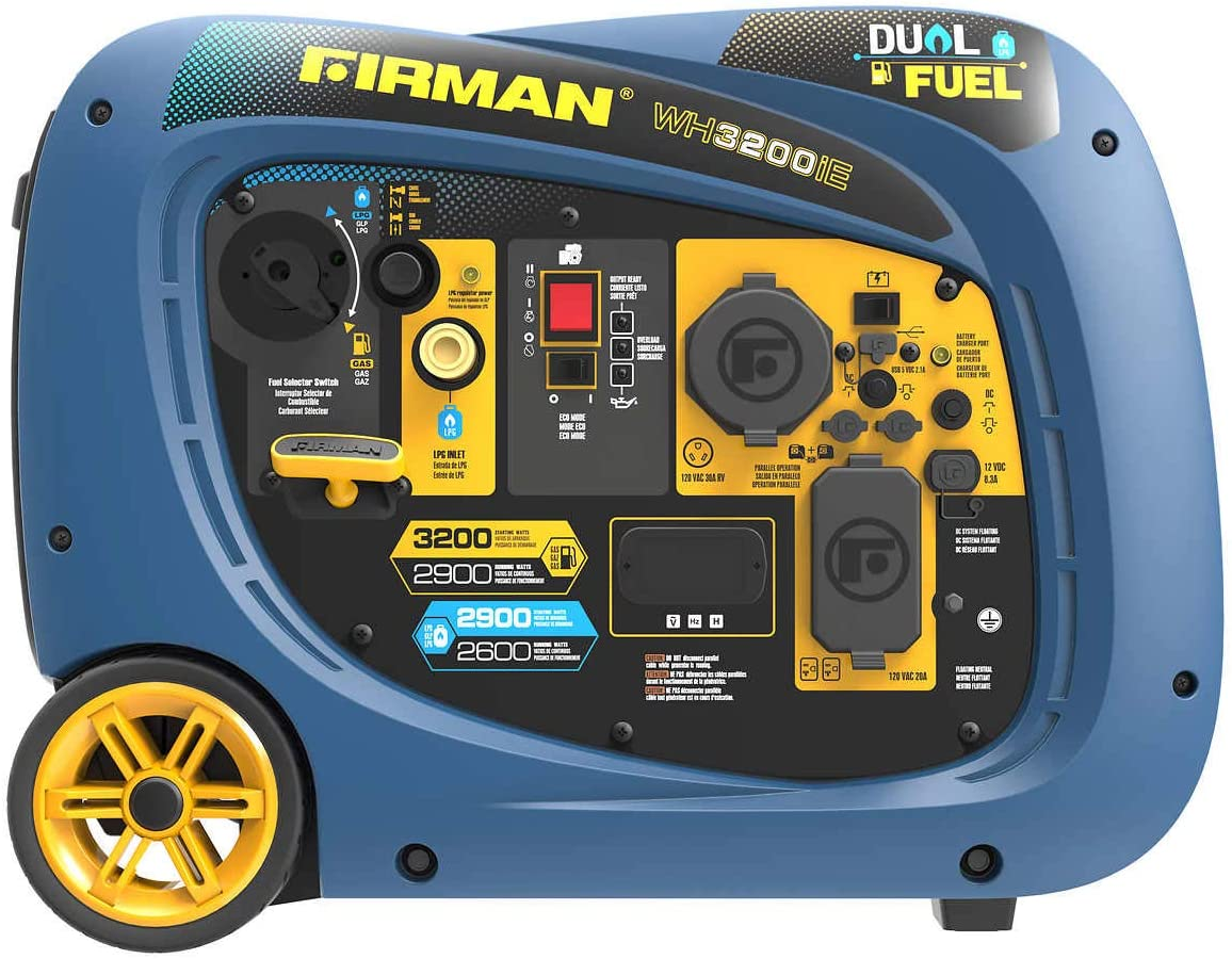 Firman 2900W Running / 3200W Peak Electric Start Dual Fuel Inverter Generator Gas and LP