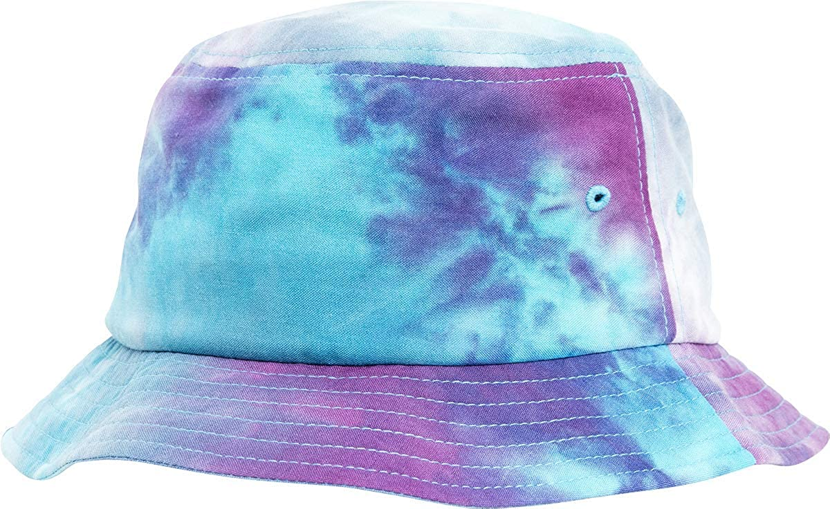 one Size Purple Turquoise Flexfit Festival Print Bucket Hat Anglerhut