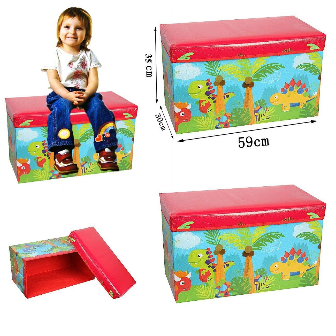 FunkyBuys Kids Toys Books Childrens Lid Tidy Large Storage Box Folding Stool Seat Toy Box Boys Girls Chest Clothes (Dinosaur)