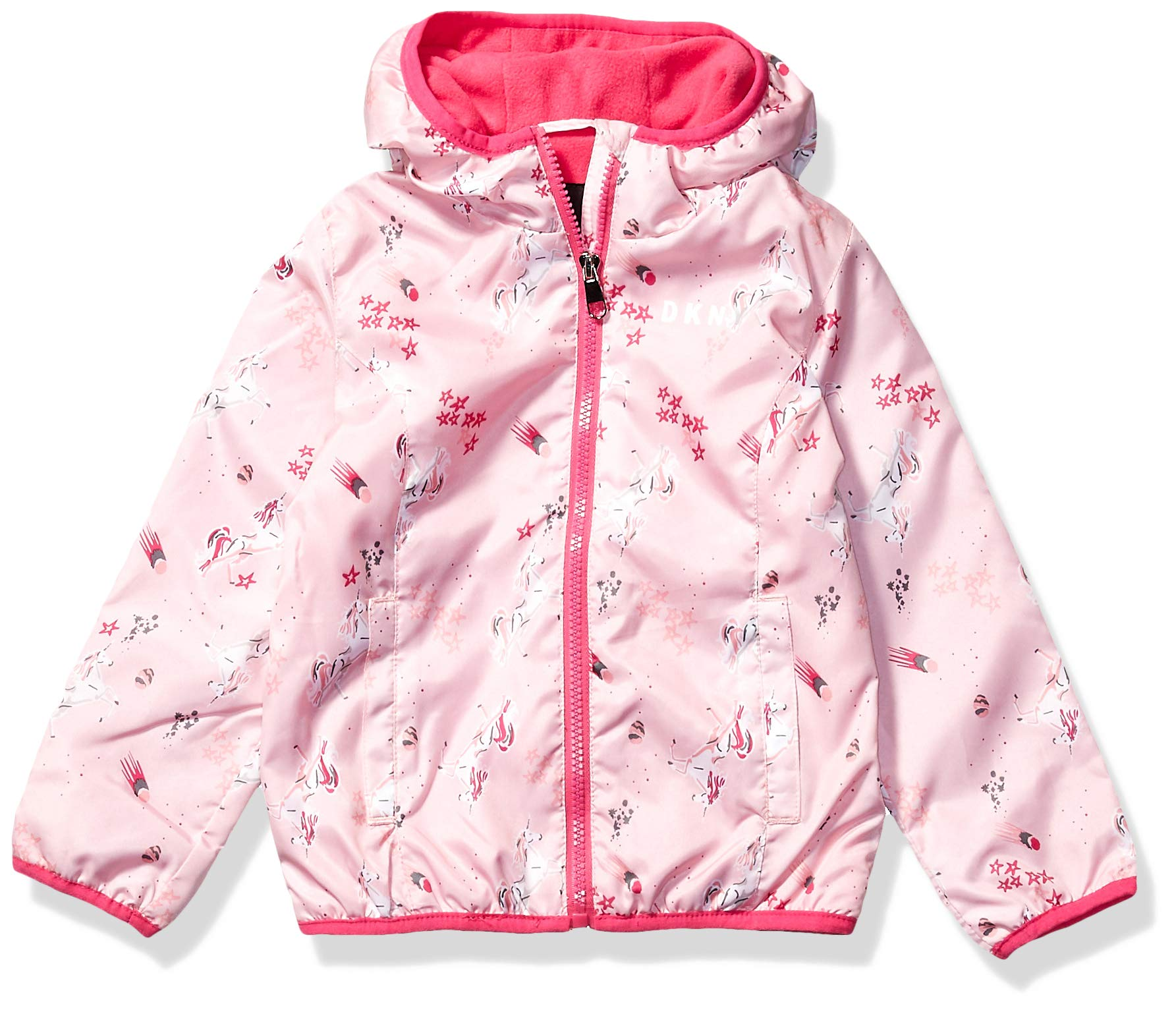 DKNY Girls' Little Midweight Jacket, Printed Baby Pink, 6X by DKNY