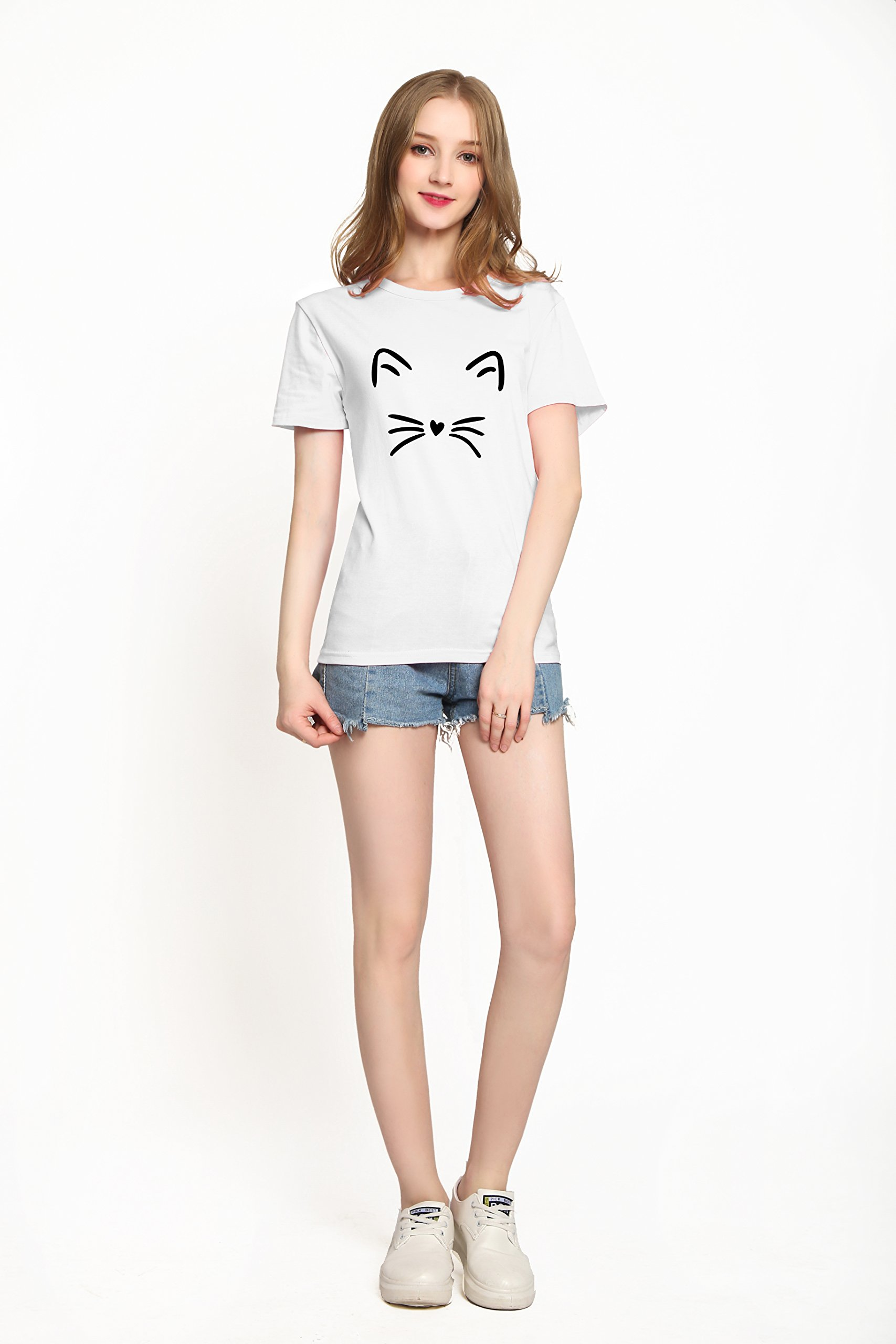 PINJIA Womens Cotton Letter Printed Pullover Tshirts Top Tees(MX15)(XXXL, White Cat)