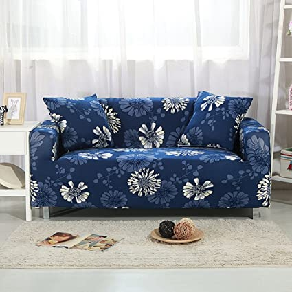 YJBear 1 PC Dark Blue Sofa Covers Polyester Stretch Slipcover Slip  Resistant Furniture Protector for Chair Loveseat Sofa Protector  Shield,White ...