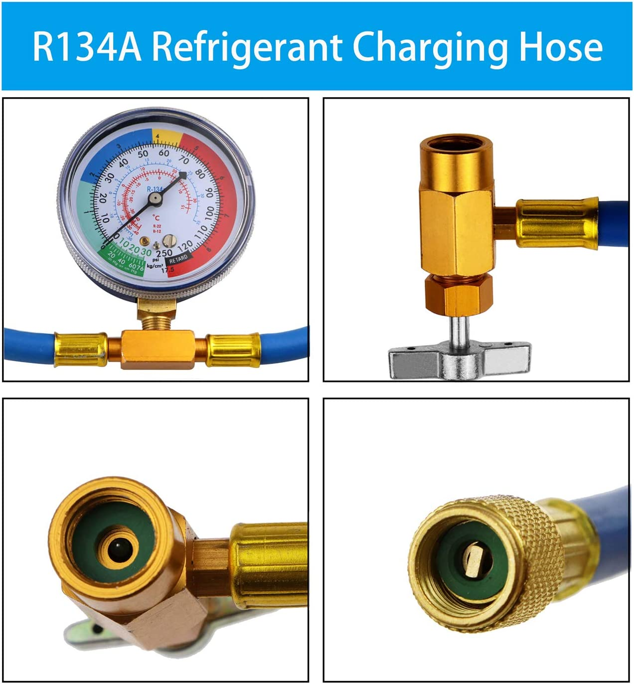 SOQAL 59 R134a Charging Hose to Refrigerator with Gauge,Refrigerant Recharger Hose,with R12 ro R134a Quick Adapter /& BPV31 Piercing Valve