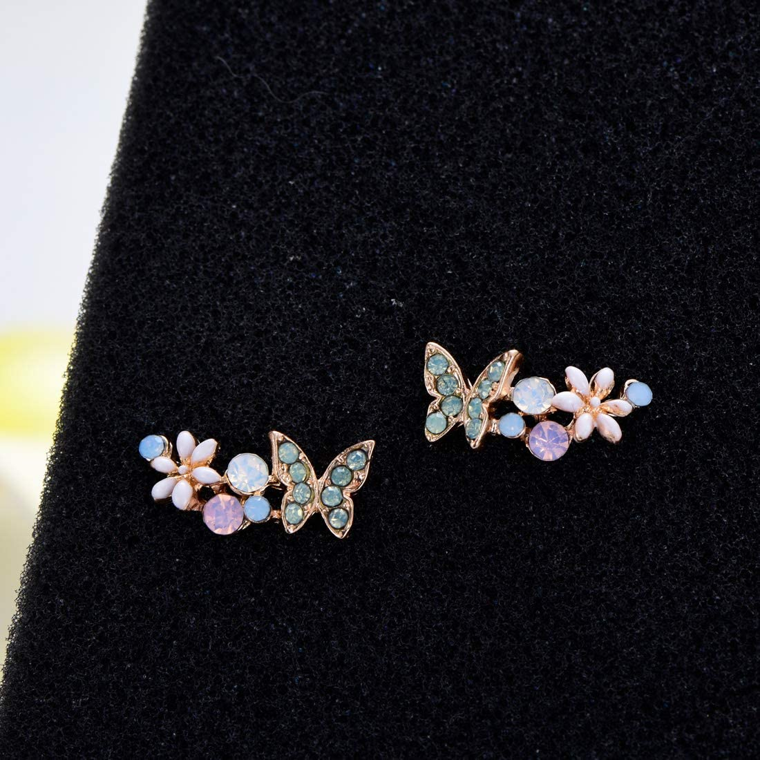 YOQUCOL Clear AB Multiple Colors Austrian Crystal Butterfly Climber Cute Earrings Ear Vine Wrap For Women Girls
