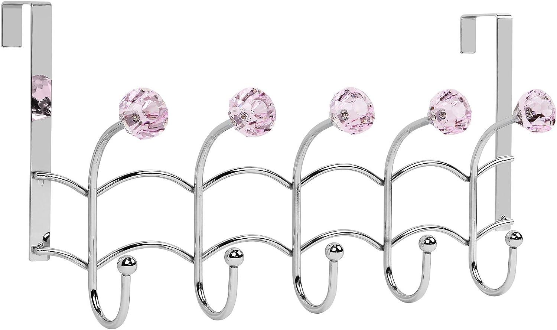 Galashield Over The Door Hook Pink Acrylic Hooks and Stainless Steel Organizer Door Hanger Towel Rack (10 Hooks)
