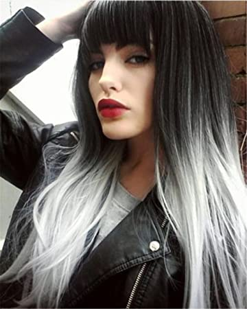 Fataotia Silber Ombre Grau Perücken Lange Gerade Haar Cosplay Voll