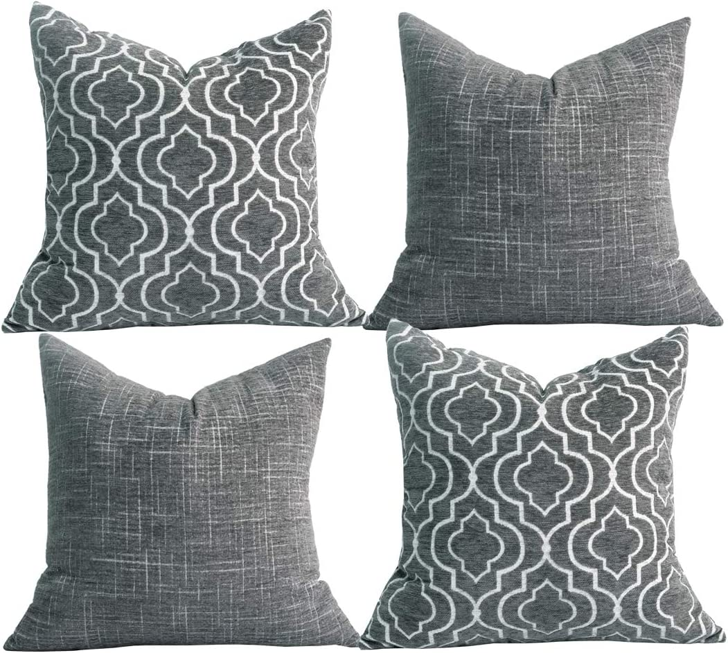 Amazon Com Oirpro Decorative Pillow Covers Chenille Plush Velvet Pillow Covers Quatrefoil Geometric Trellis Chain Pillow Cases For Sofa Couch Bed 18x18 Inches Set Of 4 Dark Grey Home Kitchen