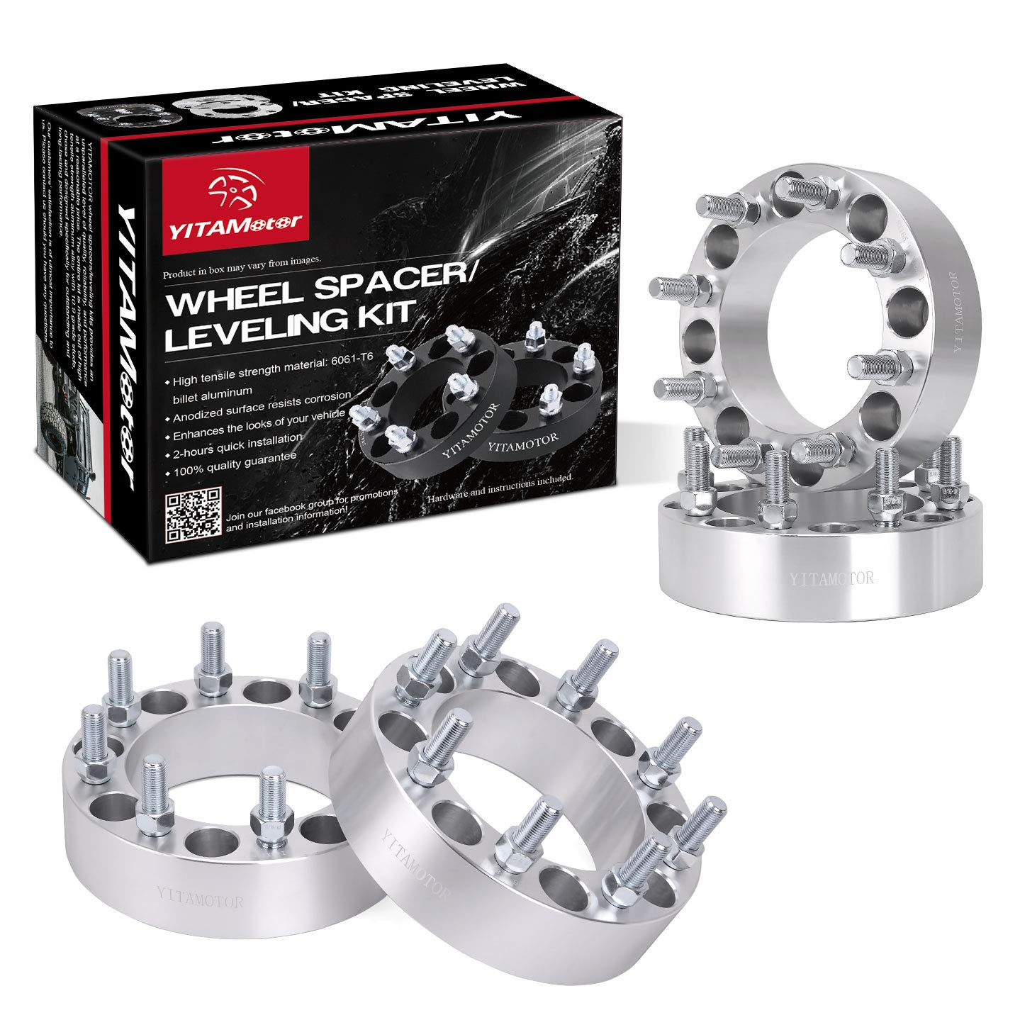 """8x6.5 Wheel Spacers, YITAMOTOR 4pcs 2"""" Wheel Spacers compatible for Dodge Ram 2500 3500 8 Lug 8x165.1 Wheel Spacers Adapters (9/16' Studs &130 mm Hub Bore)"""