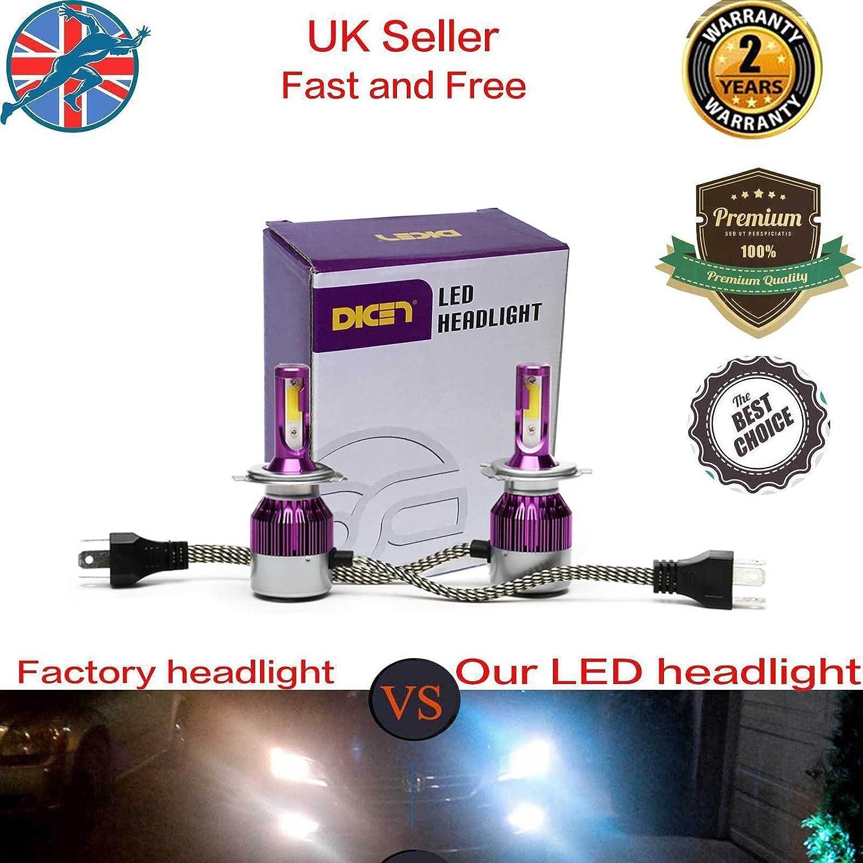 80W H4 Hi/Lo LED Headlight Kit Bulbs LED Chip HB2 9003 High Low LED Car Headlight Lamps Conversion Kit 12V 24V Replace for Halogen or HID Bulbs 9000Lm Hi Beam 7600lm Low Beam-6000K Diamond White Color BoHao
