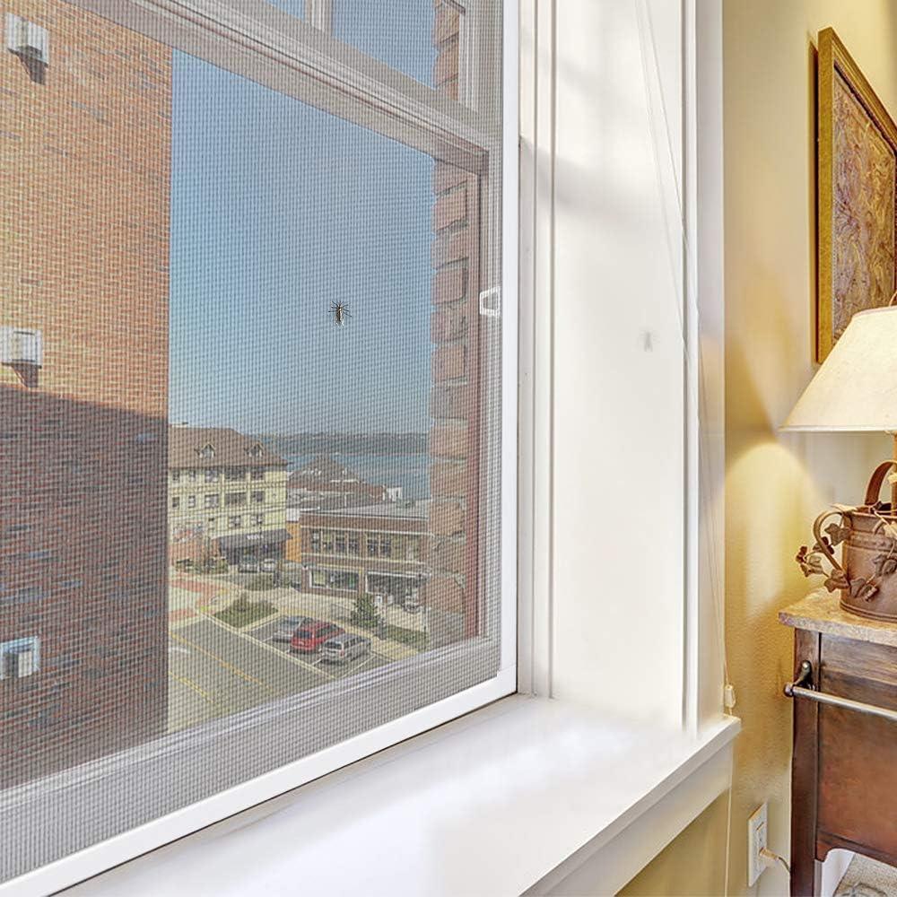 Froadp 80/×100cm Insektenschutz Fliegengitter Fenster mit Braun Alurahmen Moskitonetz Staub Ausziehbar M/ückengitter Fliegenschutzgitter ohne Bohren f/ür Balkon Terrassen