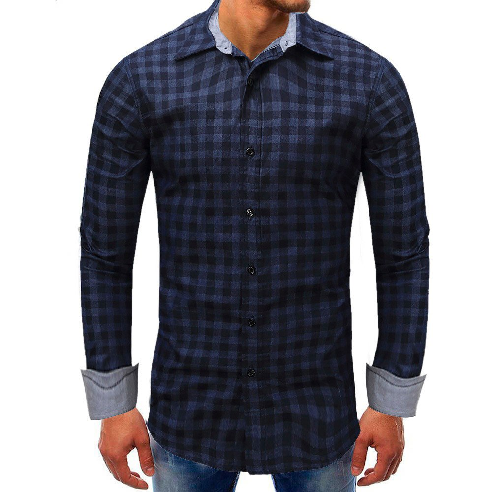Men shirts Clearance WEUIE Men Lattice Denim Long-Sleeve Beefy Button Basic Solid Blouse Tee Shirt Top (L, Dark Blue)