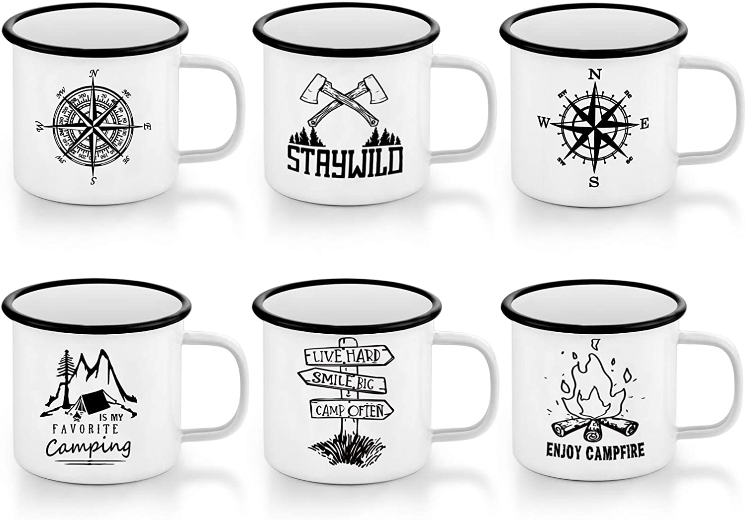 E-far Enamel Camping Mug Set of 6, 16 Ounce Metal Enamel Coffee Tea Cups Mugs for Camping Hiking Backpacking, 2-Sided Unique Graphic Design & Large Size