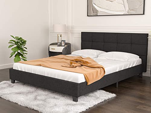 mecor Upholstered Linen Queen Platform Bed/Metal Frame