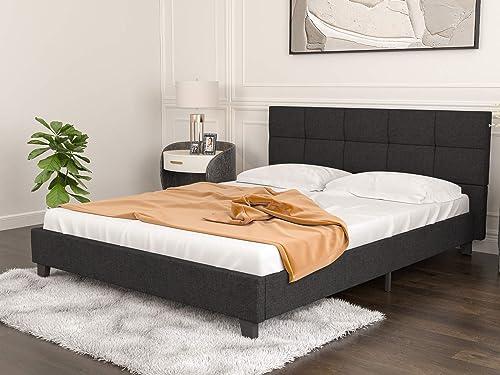 mecor Upholstered Linen Full Platform Bed Metal Frame