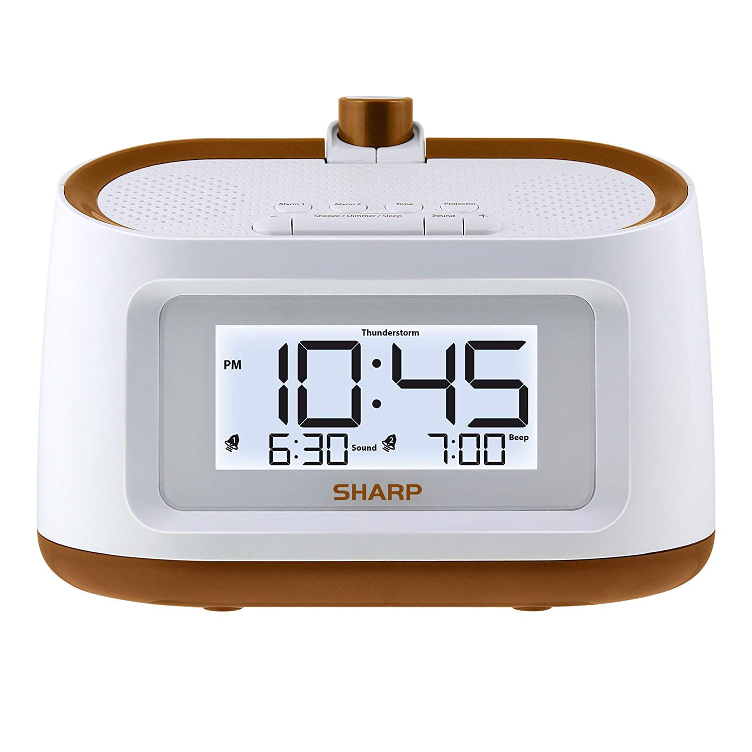 Sharp Projection Alarm Clock with Soothing Nature Sleep Sounds – Easy to Read Projection on Wall or Ceiling – 8 Sleep Sounds to Help Fall Asleep ...