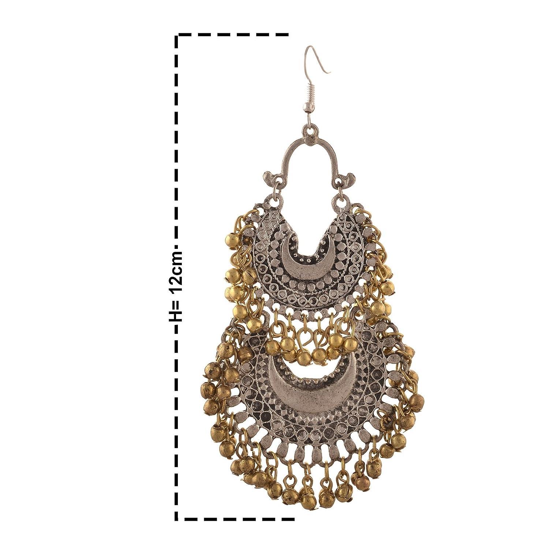 Oreleaa Jewellery German Silver Turkish Style Beaded Chandbali Earrings for Women and Girls