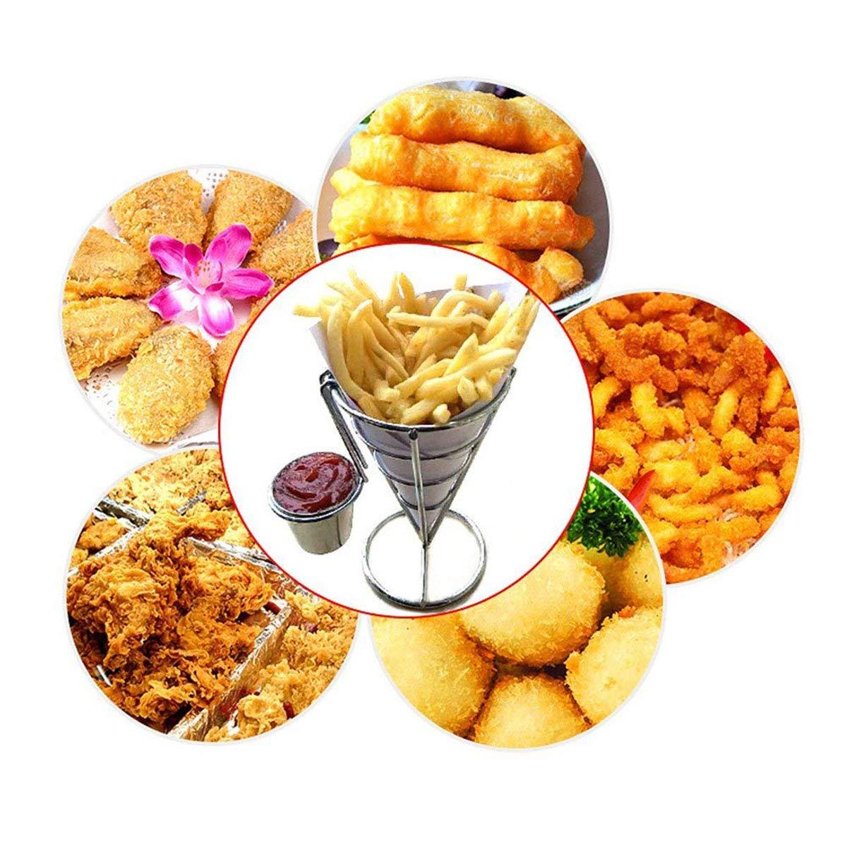 OUBORUI Cono Francés Fries Soporte con Vaso de Salsa para Hogar Cocina Fiestas y Restaurantes: Amazon.es: Hogar