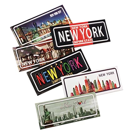 6x Number Plate Design New York City Empire State Statue Of Liberty Brooklyn Bridge Chrysler Building Ny Souvenir Fridge Magnets Pack Of 6