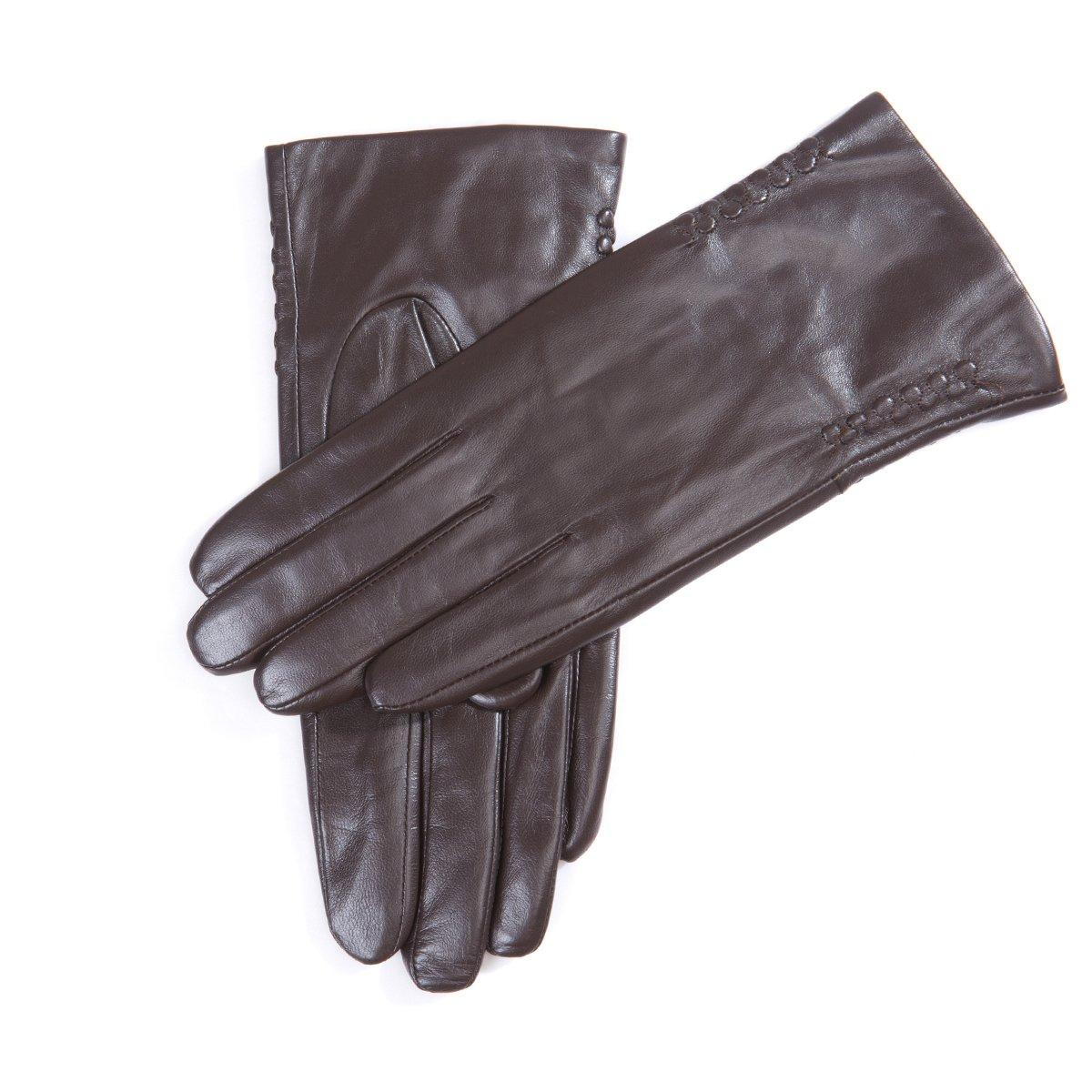 MATSU Women Winter Warm Lambskin Leather Long Fleece Lined Gloves M9114 (M, Brown)