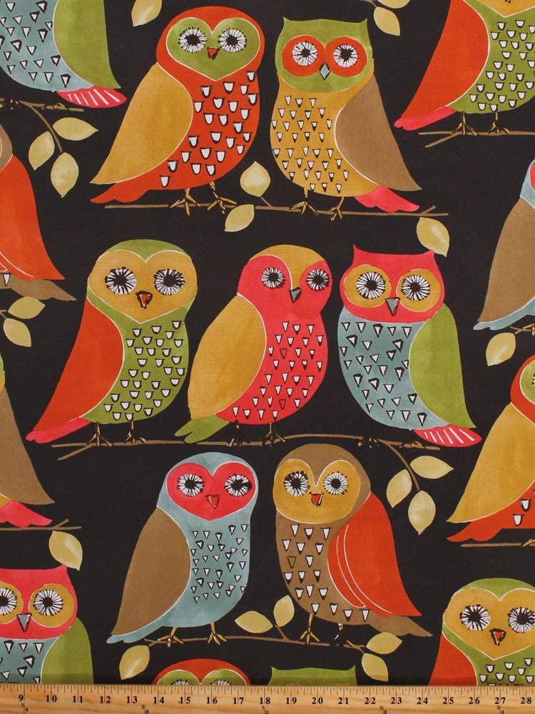 """54"""" Decorator Weight Perched Owls on Dark Brown Large-Scale Whimsical 1970's Retro Vintage-Look Home Decor Upholstery Fabric by The Yard (D791.17)"""
