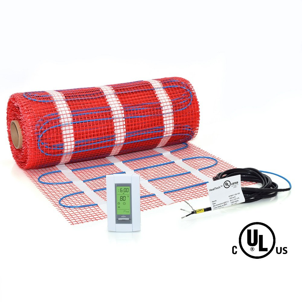 15 sqft Mat Kit, 120V Electric Radiant Floor Heat Heating System w/ Aube Programmable Floor Sensing Thermostat Heattech