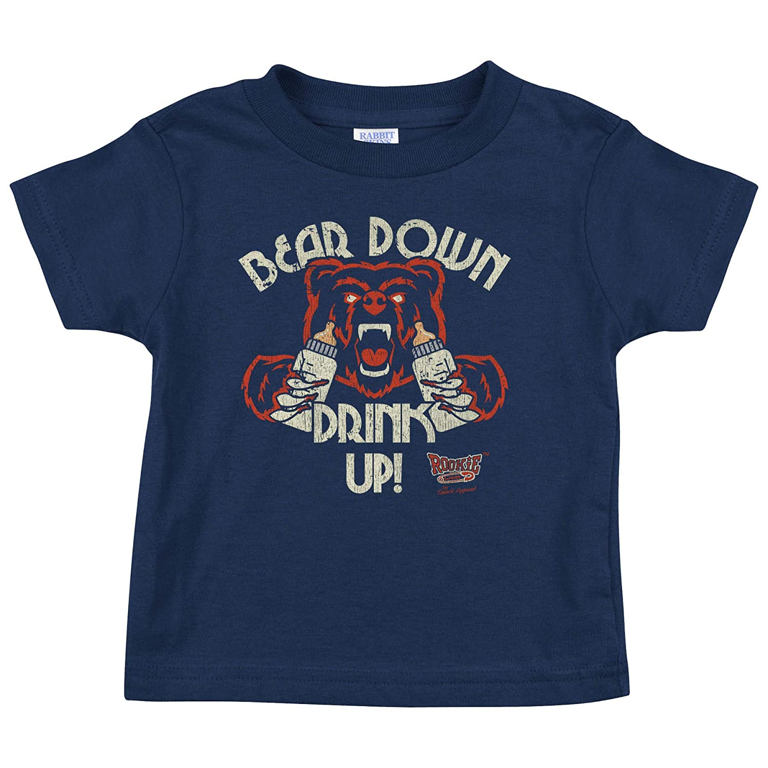 NB-4T Bear Down Drink Up Navy Onesie or Toddler Tee Rookie Wear by Smack Apparel Chicago Football Fans