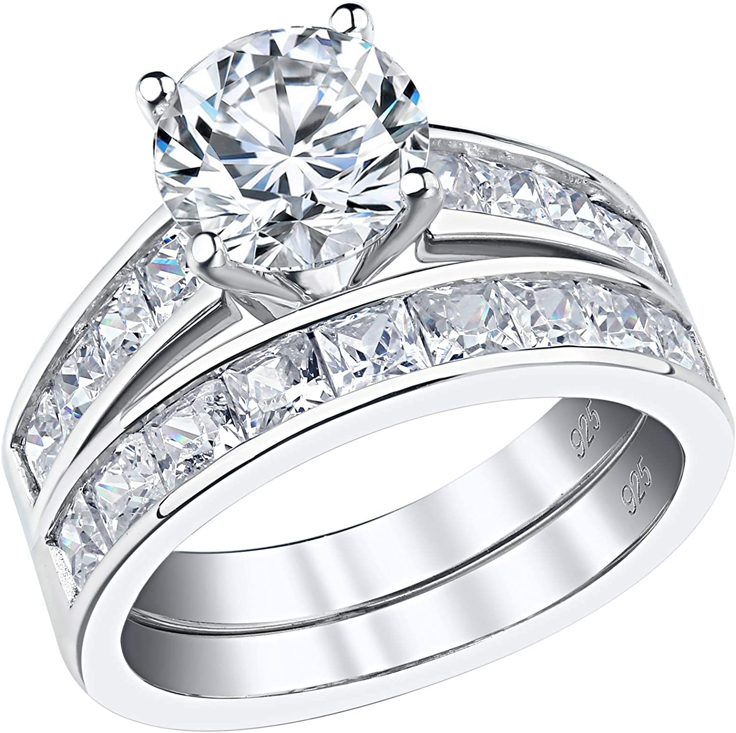 Amazon Com Sheloves 2 7ct Round Princess Cut Cz Engagement Wedding Rings Womens Sterling Silver Bridal Set 5 10 Jewelry