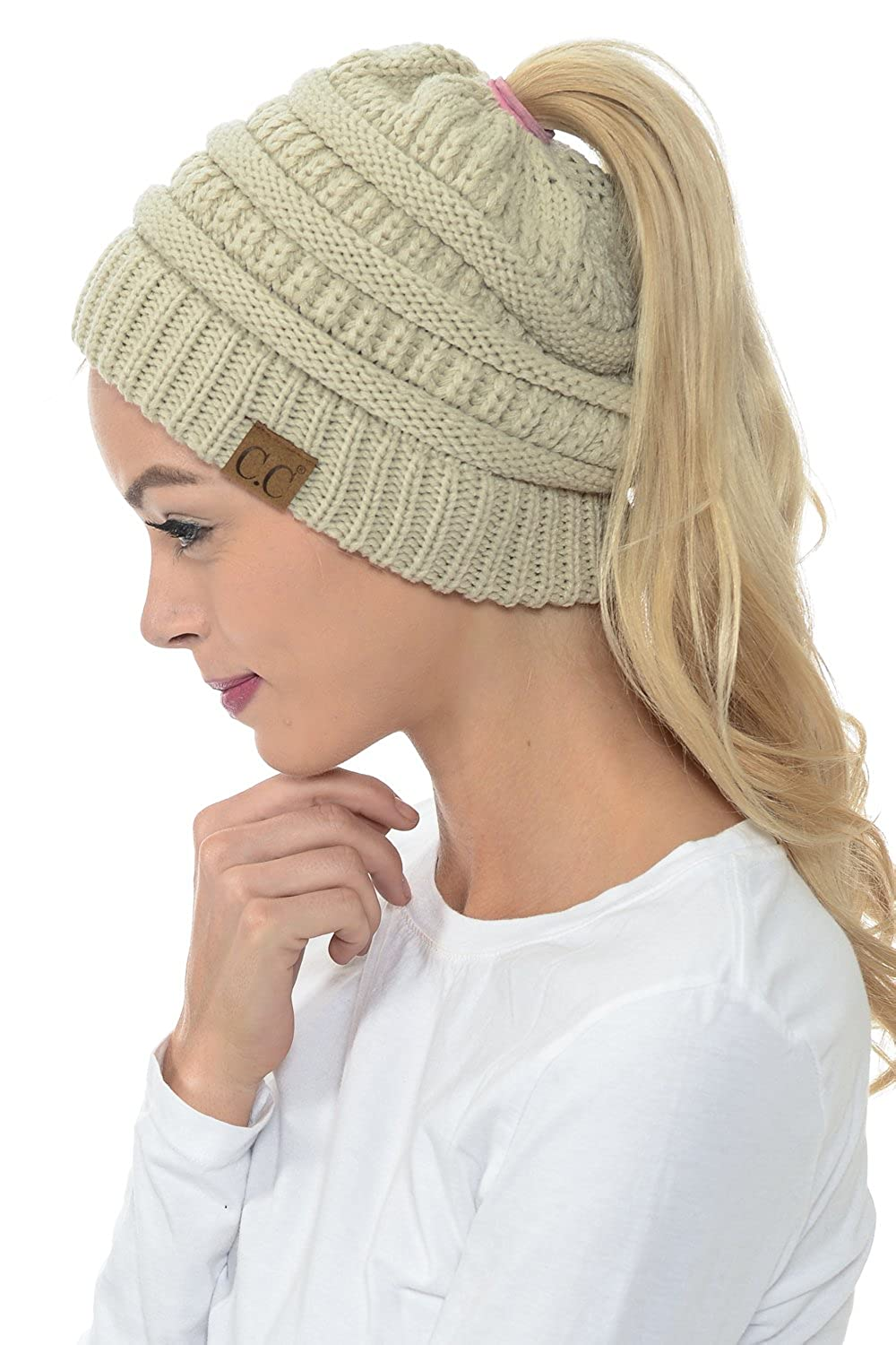 YourStyle CC Beanie Tail Soft Stretch Cable Knit High Bun Ponytail Beanie  (Beige) at Amazon Women s Clothing store  5c98fe3be3e