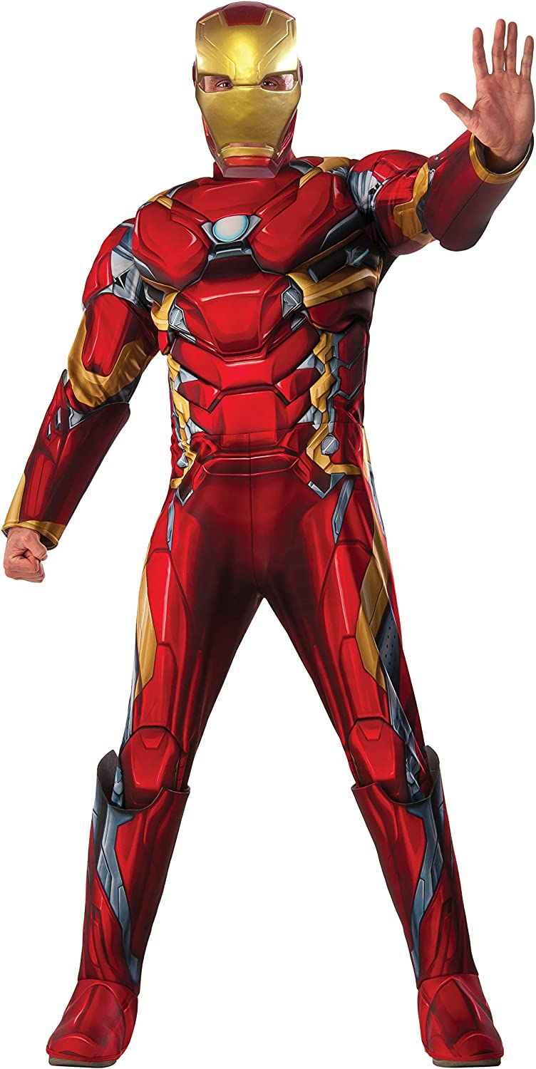 LICENSED MUSCLE CHEST ADULT IRON MAN TOP MASK MENS SUPERHERO HALLOWEEN COSTUME