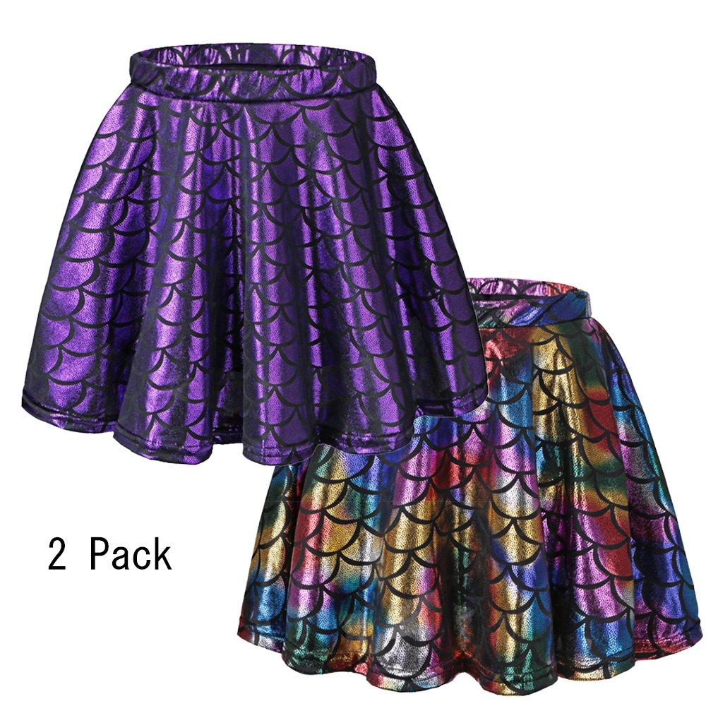 BAOHULU Girls Skirt Fish Scale Dress up Costumes Purple/Colorful,L 2Pack by BAOHULU